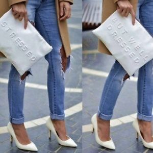 Zara white faux leather clutch pouch stressed
